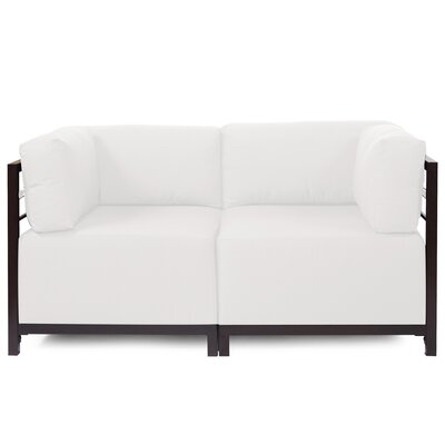 Woodsen Loveseat Upholstery: Seascape Natural, Frame Finish: Titanium
