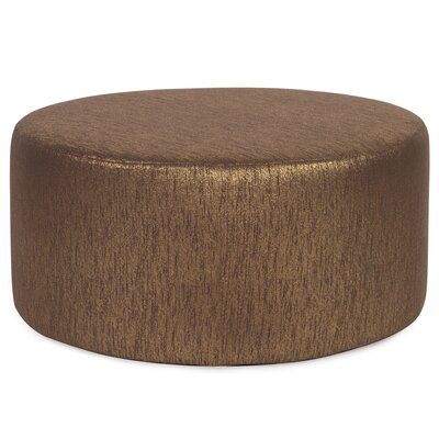 Alas Round Polyester Ottoman Slipcover Upholstery: Chocolate