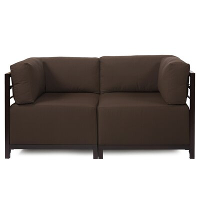Woodsen Loveseat Upholstery: Seascape Chocolate, Frame Finish: Titanium