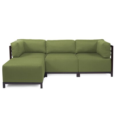 Woodsen Left Hand Facing Sectional Finish: Mahogany, Color: Seascape Moss