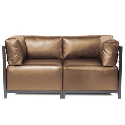 Woodsen Shimmer Sectional Upholstery: Bronze, Frame Finish: Mahogany