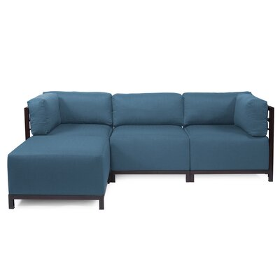 Latitude Run Woodsen Left Hand Facing Sectional Color: Seascape Turquoise, Finish: Titanium
