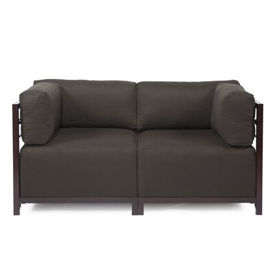 Woodsen Loveseat Frame Finish: Mahogany, Upholstery: Seascape Charcoal