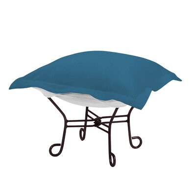 Claribel Puff Ottoman Frame Finish: Titanium, Fabric: Seascape Turquoise