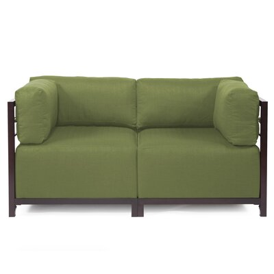 Woodsen Loveseat Upholstery: Seascape Moss, Frame Finish: Titanium