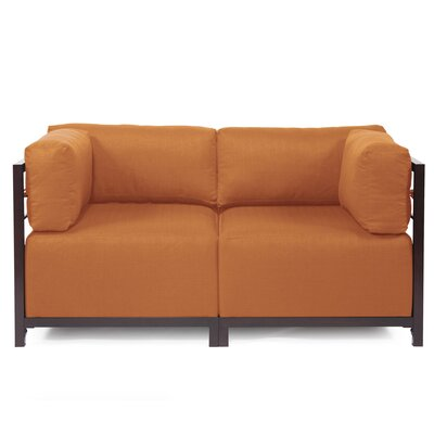Woodsen Loveseat Upholstery: Seascape Canyon, Frame Finish: Mahogany