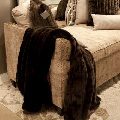 Alysha Throw with Fringe Color: Mink Brown
