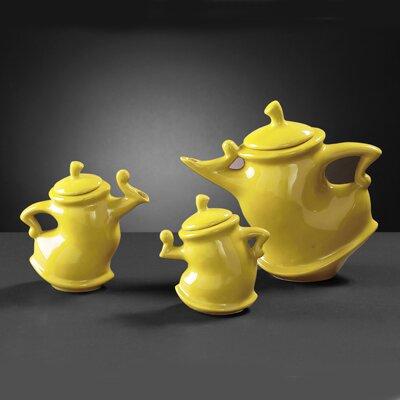 Howard Elliott Teapots in Yellow Glaze (Set of 3)