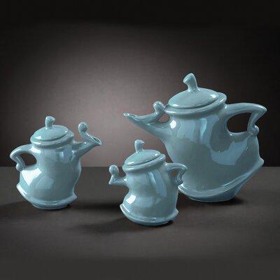 Howard Elliott Baby Teapots in Blue Glaze (Set of 3)