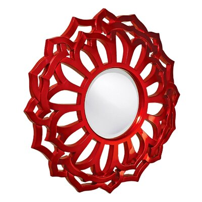 Sunflower Frame Resin Wall Mirror Finish: Metallic Red