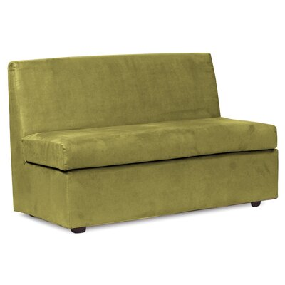 Mattingly Box Cushion Loveseat Slipcover Upholstery: Moss