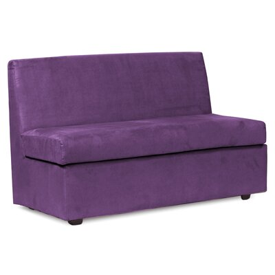 Mattingly Box Cushion Loveseat Slipcover Upholstery: Eggplant