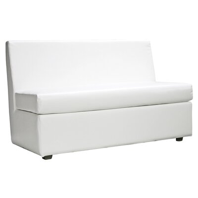 Solid Box Cushion Loveseat Slipcover Upholstery: White
