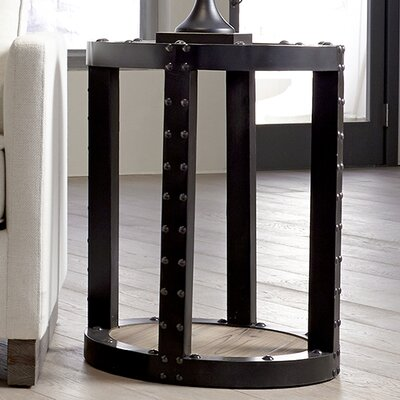 Chesser Aged Wood Iron Side Table