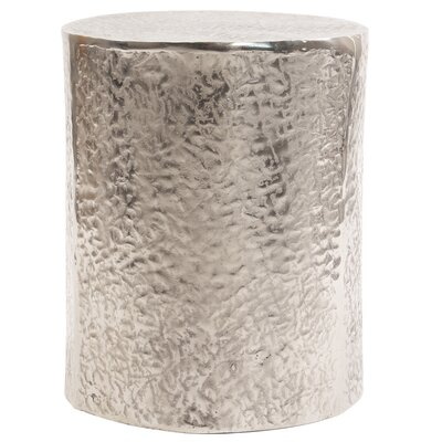 Cammi Textured Aluminum Drum End Table