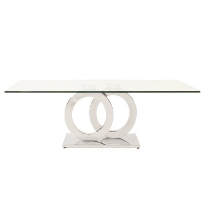 Langer Stainless Steel Coffee Table with Circular Base