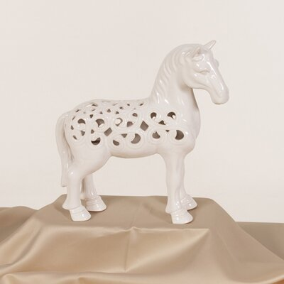 Ceramic Horse Figurine Finish: White ACOT4851 38484318