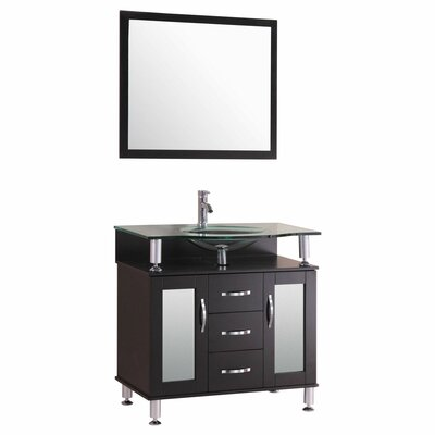 30 Single Glass Top Vanity Set with Mirror