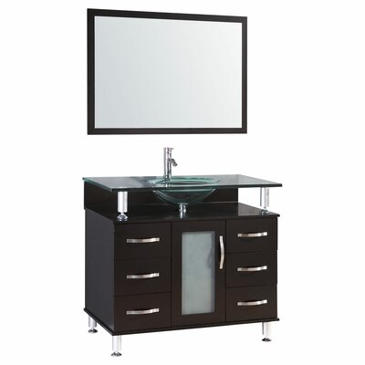 36 Single Glass Top Vanity Set with Mirror