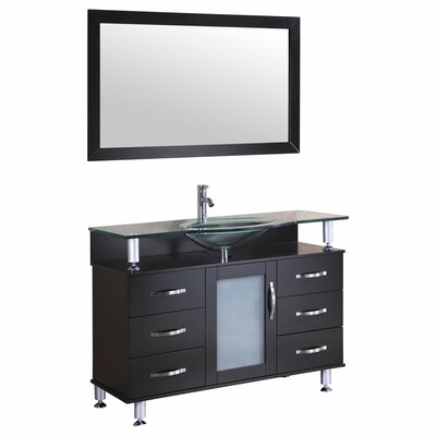 48 Single Glass Top Vanity Set with Mirror