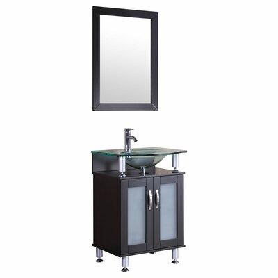 24 Single Glass Top Vanity Set with Mirror