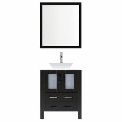 Modern 36 Single Bathroom Vanity Set with Mirror Base finish: Espresso