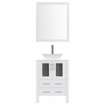 Modern 30 Single Bathroom Vanity Set with Mirror Base finish: White