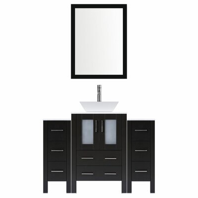 Modern 48 Single Bathroom Vanity Set with Mirror Base finish: Espresso