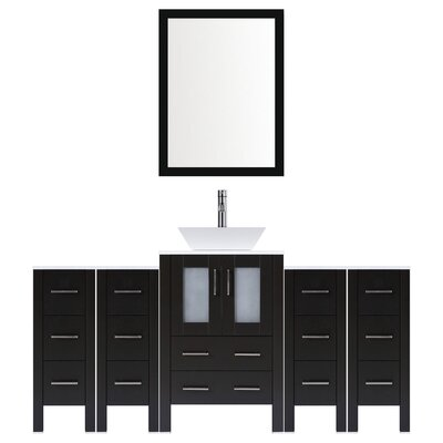 Modern 72 Single Bathroom Vanity Set with Mirror Base finish: Espresso