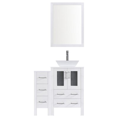 Modern 48 Single Bathroom Vanity Set with Mirror Base finish: White