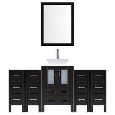 Modern 84 Single Bathroom Vanity Set with Mirror Base finish: Espresso