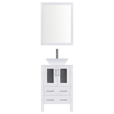Modern 24 Single Bathroom Vanity Set with Mirror Base finish: White