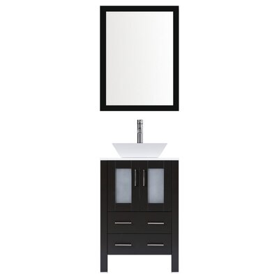 Modern 24 Single Bathroom Vanity Set with Mirror Base finish: Espresso