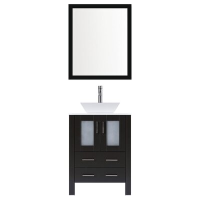 Modern 30 Single Bathroom Vanity Set with Mirror Base finish: Espresso