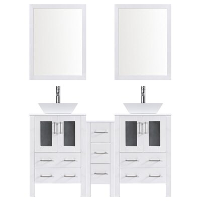Modern 60 Double Bathroom Vanity Set with Mirror Base finish: White