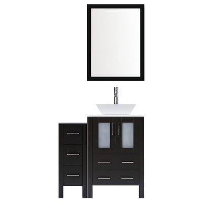 Modern 36 Single Bathroom Vanity Set with Mirror Base finish: Espresso