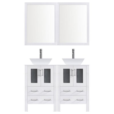 Modern 48 Double Bathroom Vanity Set with Mirror Base finish: White