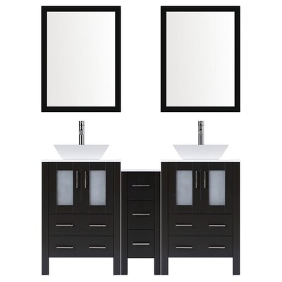 Modern 60 Double Bathroom Vanity Set with Mirror Base finish: Espresso