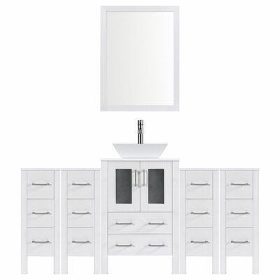 Modern 72 Single Bathroom Vanity Set with Mirror Base finish: White