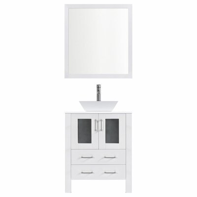 Modern 36 Single Bathroom Vanity Set with Mirror Base finish: White