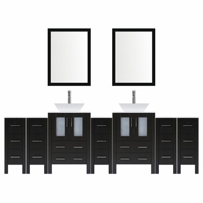 Modern 108 Double Bathroom Vanity Set with Mirror Base finish: Espresso