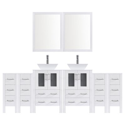 Modern 120 Double Bathroom Vanity Set with Mirror Base finish: White
