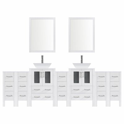 Modern 108 Double Bathroom Vanity Set with Mirror Base finish: White