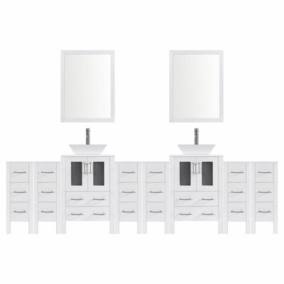 Modern 132 Double Bathroom Vanity Set with Mirror Base finish: White