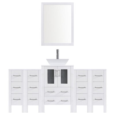 Modern 78 Single Bathroom Vanity Set with Mirror Base finish: White
