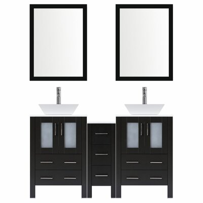 Modern 72 Double Bathroom Vanity Set with Mirror Base finish: Espresso