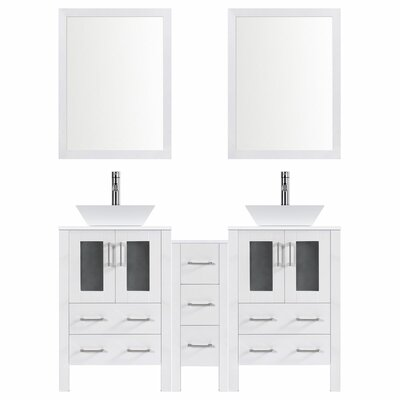 Modern 84 Double Bathroom Vanity Set with Mirror Base finish: White