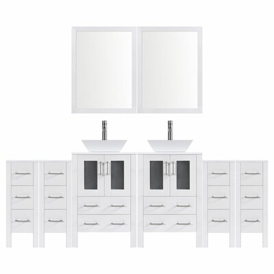 Modern 96 Double Bathroom Vanity Set with Mirror Base finish: White