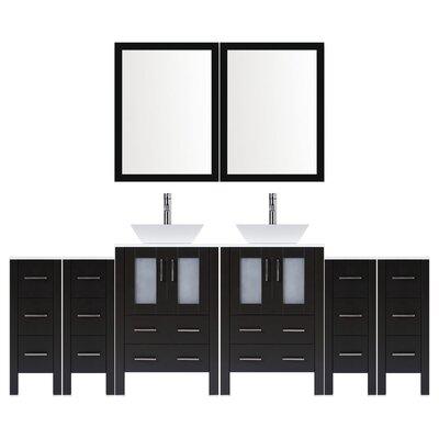 Modern 96 Double Bathroom Vanity Set with Mirror Base finish: Espresso