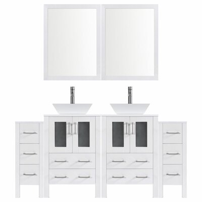Modern 72 Double Bathroom Vanity Set with Mirror Base finish: White